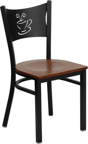 HERCULES Series Black Coffee Back Metal Restaurant Chair with Cherry Wood Seat XU-DG-60099-COF-CHYW-GG by Flash Furniture - Peazz Furniture