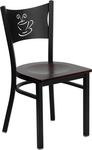 HERCULES Series Black Coffee Back Metal Restaurant Chair with Mahogany Wood Seat XU-DG-60099-COF-MAHW-GG by Flash Furniture - Peazz Furniture
