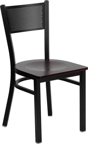 HERCULES Series Black Grid Back Metal Restaurant Chair with Mahogany Wood Seat XU-DG-60115-GRD-MAHW-GG by Flash Furniture - Peazz Furniture