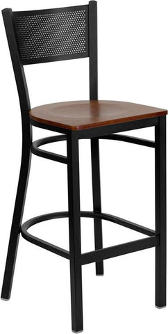 HERCULES Series Black Grid Back Metal Restaurant Bar Stool with Cherry Wood Seat XU-DG-60116-GRD-BAR-CHYW-GG by Flash Furniture - Peazz Furniture