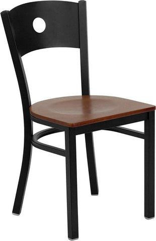 HERCULES Series Black Circle Back Metal Restaurant Chair with Cherry Wood Seat XU-DG-60119-CIR-CHYW-GG by Flash Furniture - Peazz Furniture
