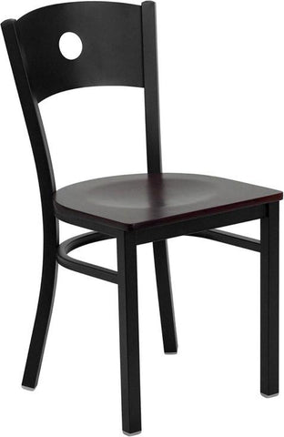 HERCULES Series Black Circle Back Metal Restaurant Chair with Mahogany Wood Seat XU-DG-60119-CIR-MAHW-GG by Flash Furniture - Peazz Furniture