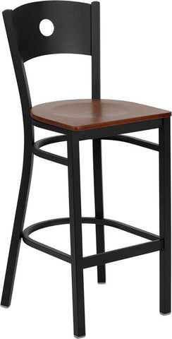 HERCULES Series Black Circle Back Metal Restaurant Bar Stool with Cherry Wood Seat XU-DG-60120-CIR-BAR-CHYW-GG by Flash Furniture - Peazz Furniture
