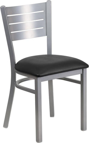 Flash Furniture XU-DG-60401-BLKV-GG HERCULES Series Silver Slat Back Metal Restaurant Chair - Black Vinyl Seat - Peazz Furniture