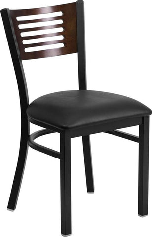 Flash Furniture XU-DG-6G5B-WAL-BLKV-GG HERCULES Series Black Decorative Slat Back Metal Restaurant Chair - Walnut Wood Back, Black Vinyl Seat - Peazz Furniture