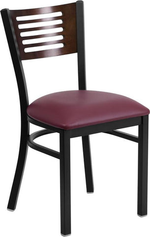 Flash Furniture XU-DG-6G5B-WAL-BURV-GG HERCULES Series Black Decorative Slat Back Metal Restaurant Chair - Walnut Wood Back, Burgundy Vinyl Seat - Peazz Furniture