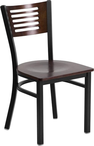 Flash Furniture XU-DG-6G5B-WAL-MTL-GG HERCULES Series Black Decorative Slat Back Metal Restaurant Chair - Walnut Wood Back & Seat - Peazz Furniture