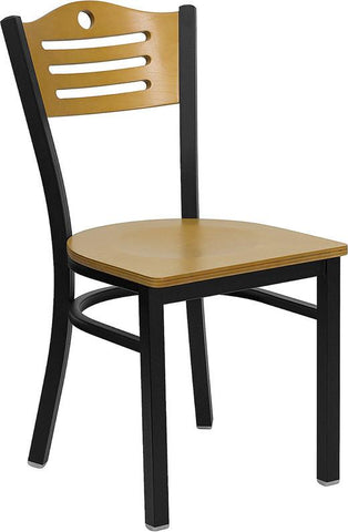 HERCULES Series Black Slat Back Metal Restaurant Chair with Natural Wood Back & Seat XU-DG-6G7B-SLAT-NATW-GG by Flash Furniture - Peazz Furniture