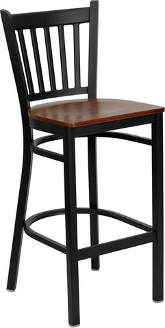 HERCULES Series Black Vertical Back Metal Restaurant Bar Stool with Cherry Wood Seat XU-DG-6R6B-VRT-BAR-CHYW-GG by Flash Furniture - Peazz Furniture