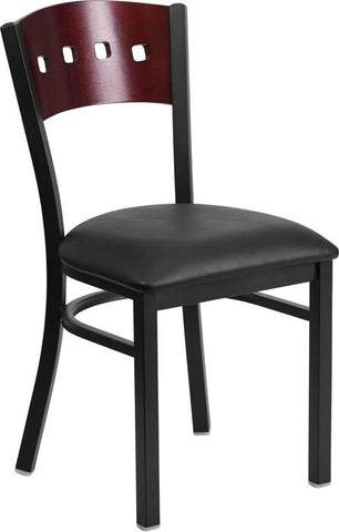Flash Furniture XU-DG-6Y1B-MAH-BLKV-GG HERCULES Series Black Decorative 4 Square Back Metal Restaurant Chair - Mahogany Wood Back, Black Vinyl Seat - Peazz Furniture