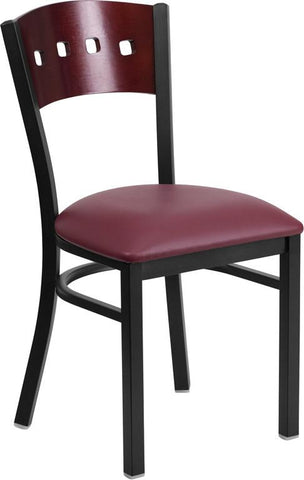 Flash Furniture XU-DG-6Y1B-MAH-BURV-GG HERCULES Series Black Decorative 4 Square Back Metal Restaurant Chair - Mahogany Wood Back, Burgundy Vinyl Seat - Peazz Furniture
