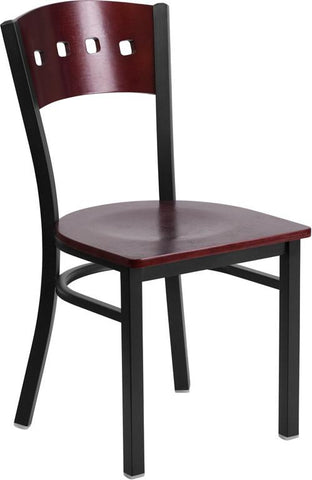 Flash Furniture XU-DG-6Y1B-MAH-MTL-GG HERCULES Series Black Decorative 4 Square Back Metal Restaurant Chair - Mahogany Wood Back & Seat - Peazz Furniture