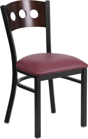 Flash Furniture XU-DG-6Y2B-WAL-BURV-GG HERCULES Series Black Decorative 3 Circle Back Metal Restaurant Chair - Walnut Wood Back, Burgundy Vinyl Seat - Peazz Furniture
