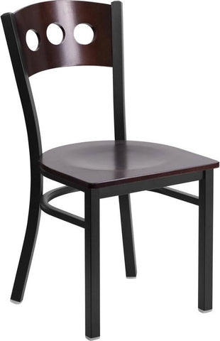Flash Furniture XU-DG-6Y2B-WAL-MTL-GG HERCULES Series Black Decorative 3 Circle Back Metal Restaurant Chair - Walnut Wood Back & Seat - Peazz Furniture
