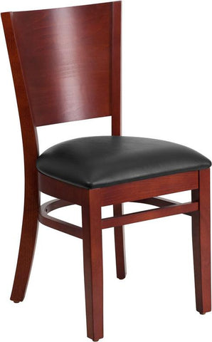 Flash Furniture XU-DG-W0094B-MAH-BLKV-GG Lacey Series Solid Back Mahogany Wooden Restaurant Chair - Black Vinyl Seat - Peazz Furniture
