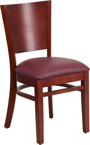 Flash Furniture XU-DG-W0094B-MAH-BURV-GG Lacey Series Solid Back Mahogany Wooden Restaurant Chair - Burgundy Vinyl Seat - Peazz Furniture