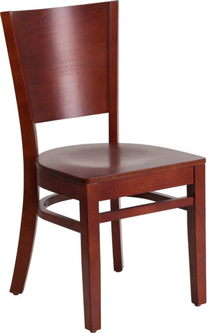 Flash Furniture XU-DG-W0094B-MAH-MAH-GG Lacey Series Solid Back Mahogany Wooden Restaurant Chair - Peazz Furniture