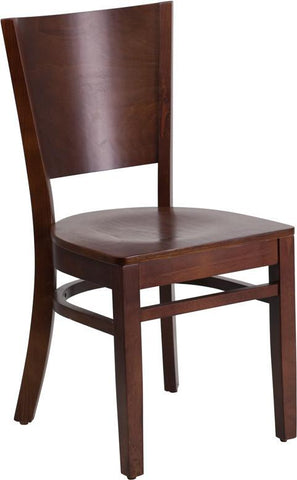 Flash Furniture XU-DG-W0094B-WAL-WAL-GG Lacey Series Solid Back Walnut Wooden Restaurant Chair - Peazz Furniture