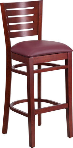 Flash Furniture XU-DG-W0108BBAR-MAH-BURV-GG Darby Series Slat Back Mahogany Wooden Restaurant Barstool - Burgundy Vinyl Seat - Peazz Furniture