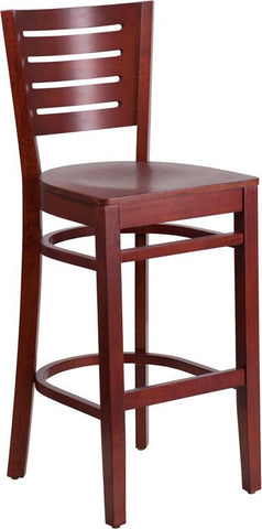 Flash Furniture XU-DG-W0108BBAR-MAH-MAH-GG Darby Series Slat Back Mahogany Wooden Restaurant Barstool - Peazz Furniture