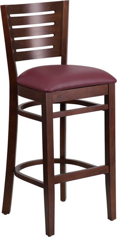 Flash Furniture XU-DG-W0108BBAR-WAL-BURV-GG Darby Series Slat Back Walnut Wooden Restaurant Barstool - Burgundy Vinyl Seat - Peazz Furniture