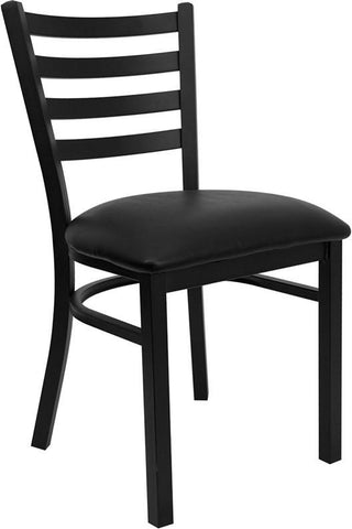 HERCULES Series Black Ladder Back Metal Restaurant Chair with Black Vinyl Seat XU-DG694BLAD-BLKV-GG by Flash Furniture - Peazz Furniture