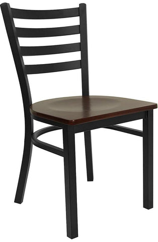 HERCULES Series Black Ladder Back Metal Restaurant Chair with Mahogany Wood Seat XU-DG694BLAD-MAHW-GG by Flash Furniture - Peazz Furniture