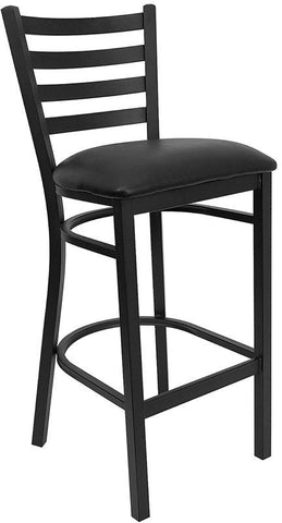 HERCULES Series Black Ladder Back Metal Restaurant Bar Stool with Black Vinyl Seat XU-DG697BLAD-BAR-BLKV-GG by Flash Furniture - Peazz Furniture