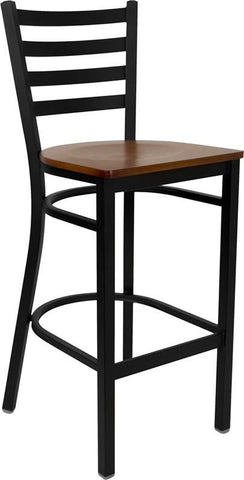 HERCULES Series Black Ladder Back Metal Restaurant Bar Stool with Cherry Wood Seat XU-DG697BLAD-BAR-CHYW-GG by Flash Furniture - Peazz Furniture