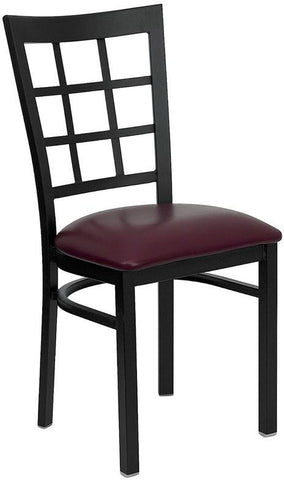 HERCULES Series Black Window Back Metal Restaurant Chair with Burgundy Vinyl Seat XU-DG6Q3BWIN-BURV-GG by Flash Furniture - Peazz Furniture