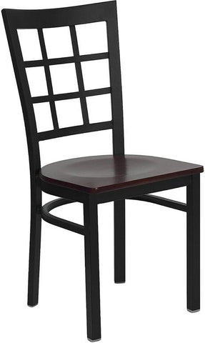 HERCULES Series Black Window Back Metal Restaurant Chair with Mahogany Wood Seat XU-DG6Q3BWIN-MAHW-GG by Flash Furniture - Peazz Furniture