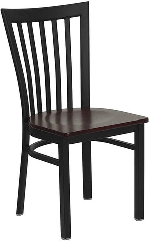 HERCULES Series Black School House Back Metal Restaurant Chair with Mahogany Wood Seat XU-DG6Q4BSCH-MAHW-GG by Flash Furniture - Peazz Furniture