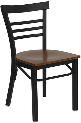 HERCULES Series Black Ladder Back Metal Restaurant Chair with Cherry Wood Seat XU-DG6Q6B1LAD-CHYW-GG by Flash Furniture - Peazz Furniture
