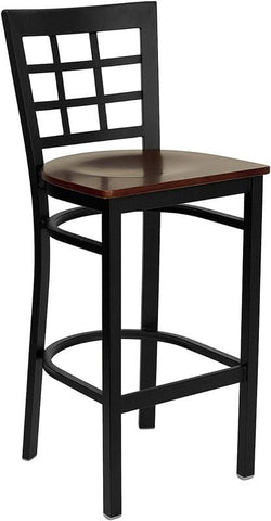 HERCULES Series Black Window Back Metal Restaurant Bar Stool with Mahogany Wood Seat XU-DG6R7BWIN-BAR-MAHW-GG by Flash Furniture - Peazz Furniture