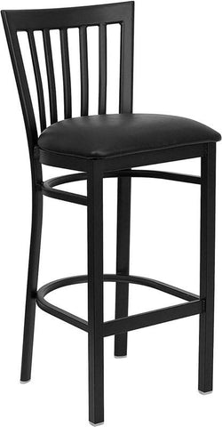 HERCULES Series Black School House Back Metal Restaurant Bar Stool with Black Vinyl Seat XU-DG6R8BSCH-BAR-BLKV-GG by Flash Furniture - Peazz Furniture