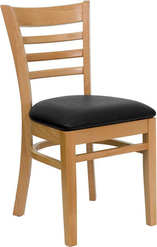 HERCULES Series Natural Wood Finished Ladder Back Wooden Restaurant Chair with Black Vinyl Seat XU-DGW0005LAD-NAT-BLKV-GG by Flash Furniture - Peazz Furniture