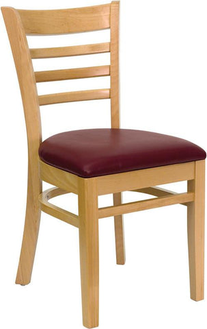 HERCULES Series Natural Wood Finished Ladder Back Wooden Restaurant Chair with Burgundy Vinyl Seat XU-DGW0005LAD-NAT-BURV-GG by Flash Furniture - Peazz Furniture