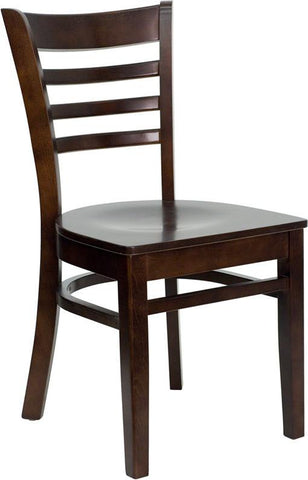 HERCULES Series Walnut Finished Ladder Back Wooden Restaurant Chair XU-DGW0005LAD-WAL-GG by Flash Furniture - Peazz Furniture