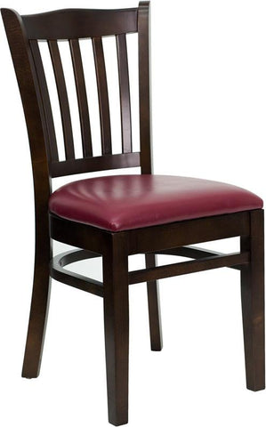 HERCULES Series Walnut Finished Vertical Slat Back Wooden Restaurant Chair with Burgundy Vinyl Seat XU-DGW0008VRT-WAL-BURV-GG by Flash Furniture - Peazz Furniture