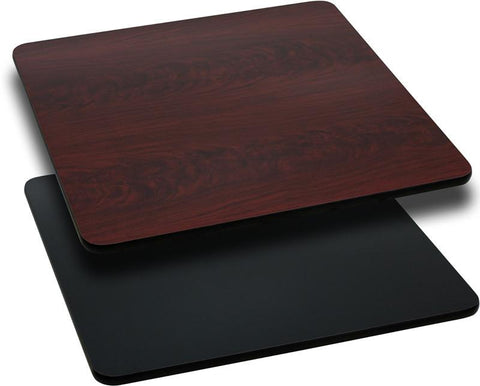24'' Square Table Top with Black or Mahogany Reversible Laminate Top XU-MBT-2424-GG by Flash Furniture - Peazz Furniture