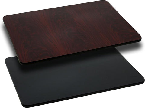30'' x 42'' Rectangular Table Top with Black or Mahogany Reversible Laminate Top XU-MBT-3042-GG by Flash Furniture - Peazz Furniture