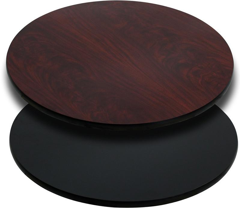 24 Round Table Top with Black or Mahogany Reversible Laminate Top XU RD 24 MBT GG by Flash Furniture