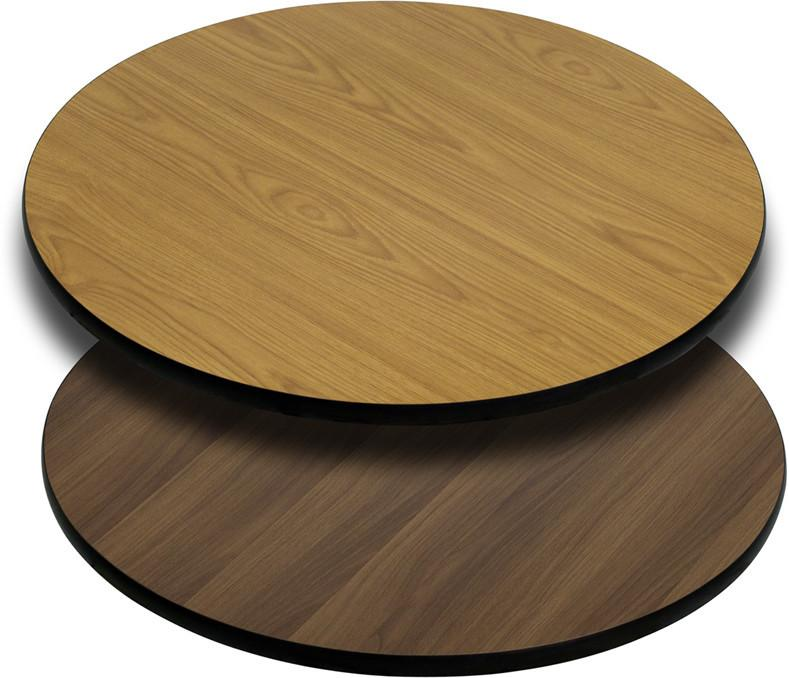 24 Round Table Top with Natural or Walnut Reversible Laminate Top XU RD 24 WNT GG by Flash Furniture