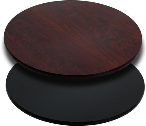 36'' Round Table Top with Black or Mahogany Reversible Laminate Top XU-RD-36-MBT-GG by Flash Furniture - Peazz Furniture