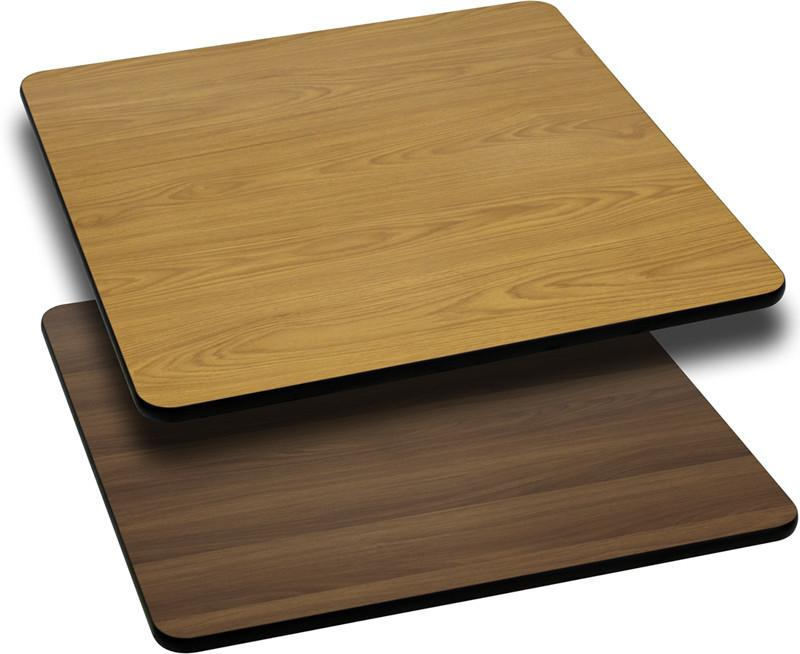 24 Square Table Top with Natural or Walnut Reversible Laminate Top XU WNT 2424 GG by Flash Furniture