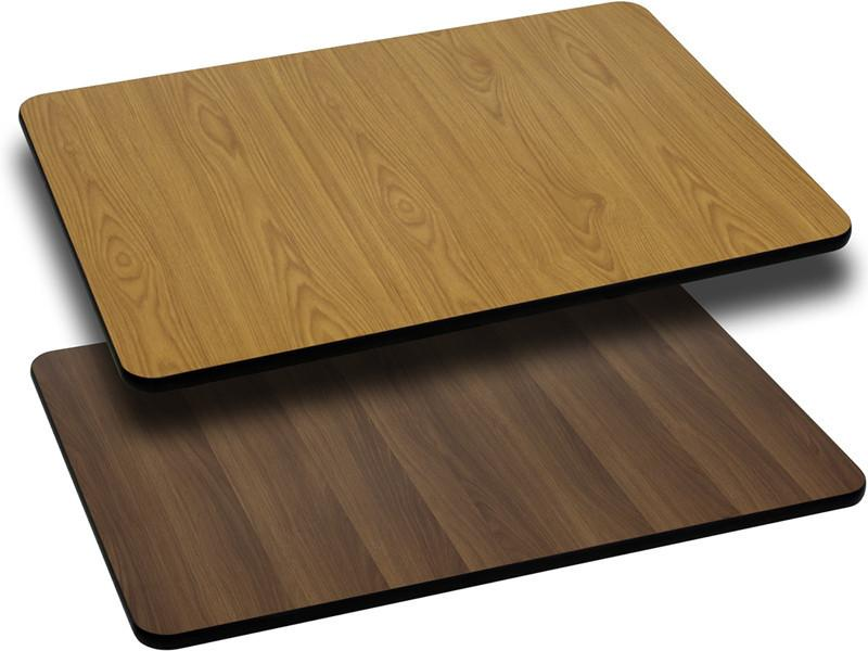 24 x 42 Rectangular Table Top with Natural or Walnut Reversible Laminate Top XU WNT 2442 GG by Flash Furniture