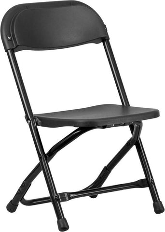 Flash Furniture Y-KID-BK-GG Kids Black Plastic Folding Chair - Peazz Furniture