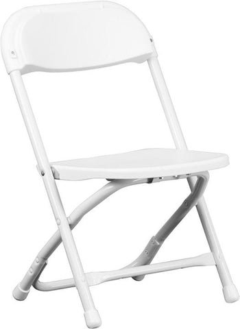 Flash Furniture Y-KID-WH-GG Kids White Plastic Folding Chair - Peazz Furniture