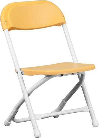 Flash Furniture Y-KID-YL-GG Kids Yellow Plastic Folding Chair - Peazz Furniture
