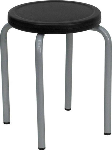 Stackable Stool with Black Seat and Silver Powder Coated Frame YK01B-GG by Flash Furniture - Peazz Furniture
